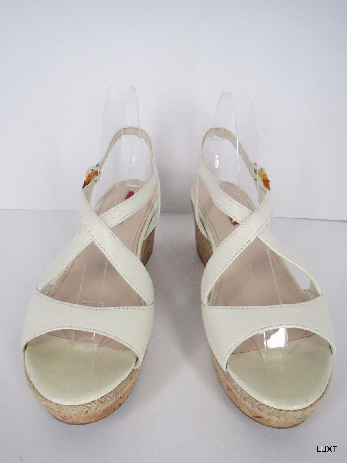 Prada Sandals Wedges Heels Sz 9 39 Leather Ivory Cork Platform Strappy Mary Jane