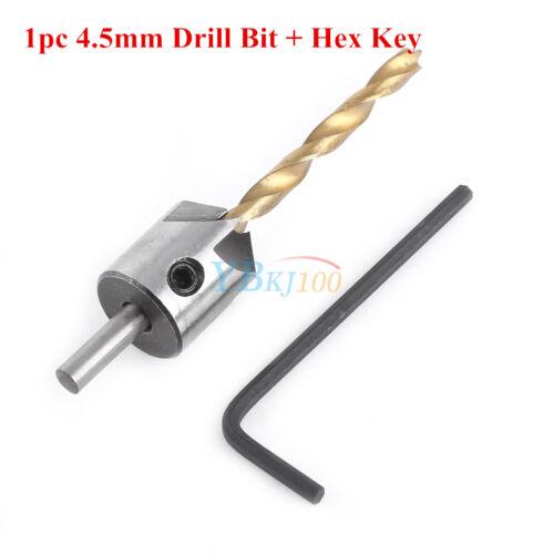 1//4//7pc 3-10mm 5 Flute Countersink Drill Bit Woodworking Chamfer Tool+Key Set