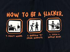 No Boundaries Mens Teens Size Medium Funny How To Be a Slacker Cotton T-Shirt