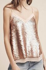 ANTHROPOLOGIE Rose Gold Sequin Cami 10 M L Tank Top Moulinette Soeurs NEW NWT