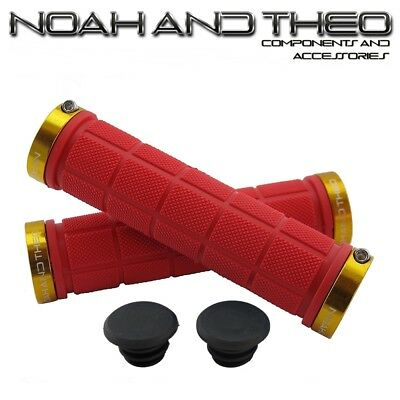 Noah And Theo Double Lock On Mountain Bike Bicycle Handlebar Grips RED GOLD