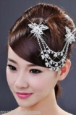 HAIR BAND CLIP Fascinator DIAMANTE CRYSTAL Bridal CHRISTMAS PROM PRESENT GIFT
