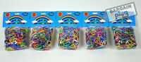 Loom Bands Refill 5 Pack X 600 Rainbow Rubber Bands 3000 Pieces + 150 S Clips