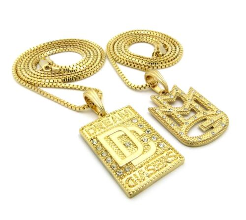 """DC Pendant w// 24/"""",30/"""" Box Chain 2 Necklace Set Hip Hop Iced Out Micro CZ MMG"""