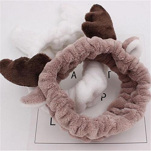 S Gift Cute Deer Horn Soft Towel Hair Band Wrap Headband For Make Up Bath Spa