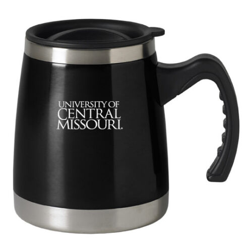 University of Central Missouri Black 16-ounce Squat Travel Mug Tumbler