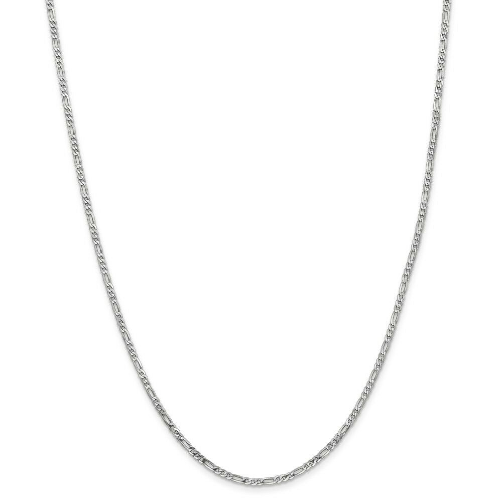 14kt White gold 2.25mm Flat Figaro Chain; 18 inch