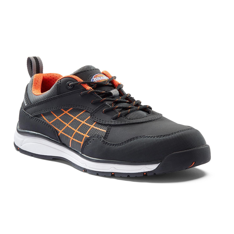 Dickies Elora Damas Seguridad Trabajo Entrenador Zapatos Negro y Naranja (Tallas 3-8)
