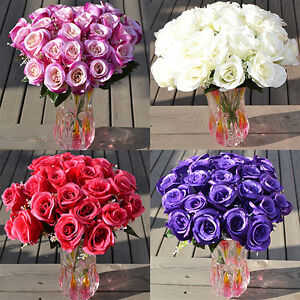 Am-EP-Large-Bouquet-24-Heads-Fake-Rose-Faux-Flowers-Wedding-Party-Home-Decors