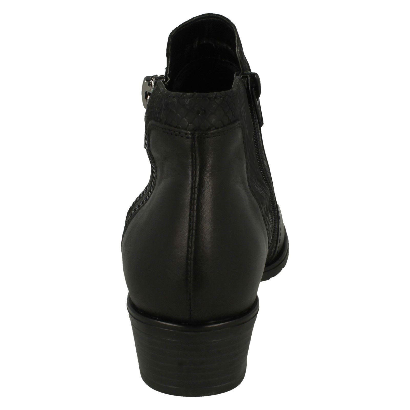 Mujer Mujer Mujer Remonte D6870 Cuero Negro Forro Cálido Botines con Cremallera f2780d