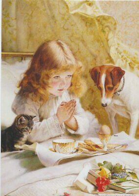 Girl Praying Bed Dog Cat Religious Wall Picture Art Print