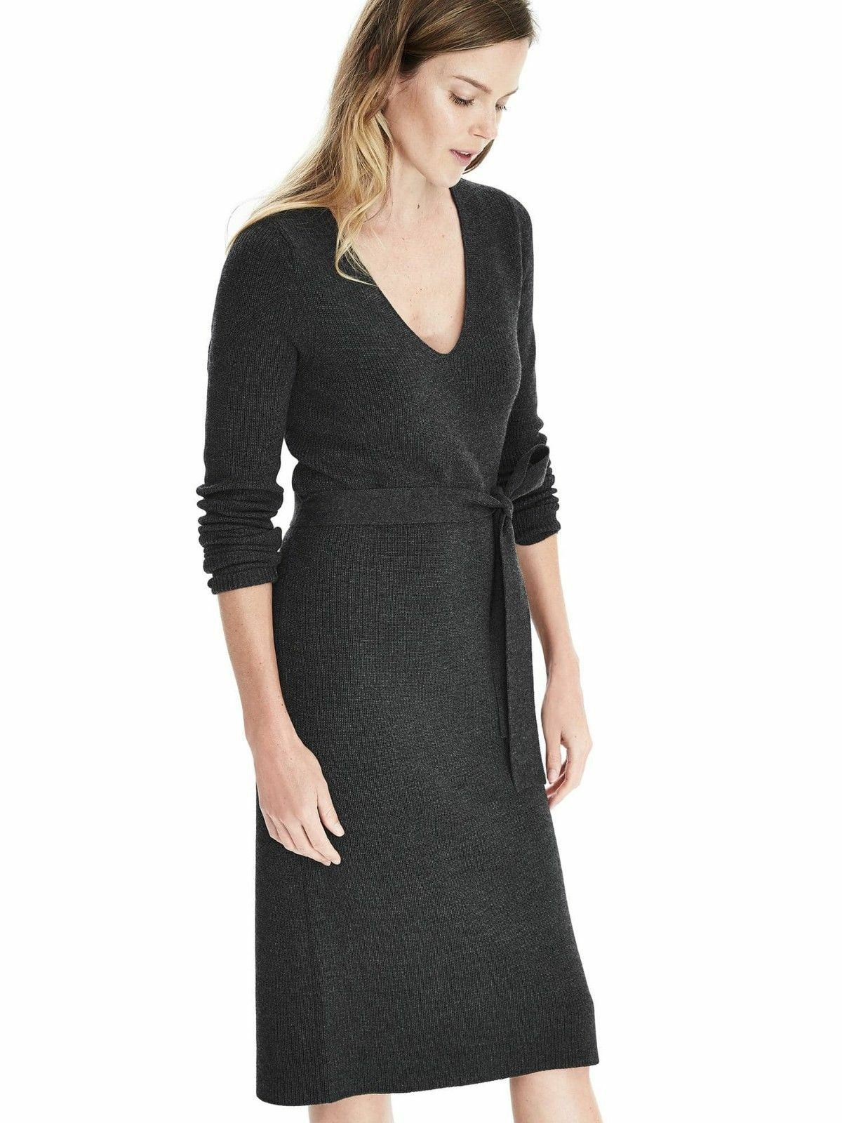 Banana Republic Belted Vee Sweater Dress, Graphite Größe M          v1119