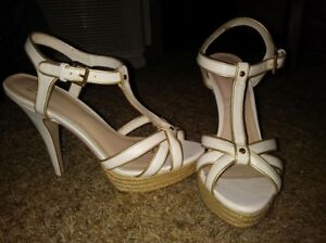 c2e67c4dc53ea Details about New ELLE Women's Ivory White w Gold accents Stiletto High  Sandal Heels Size 7.5