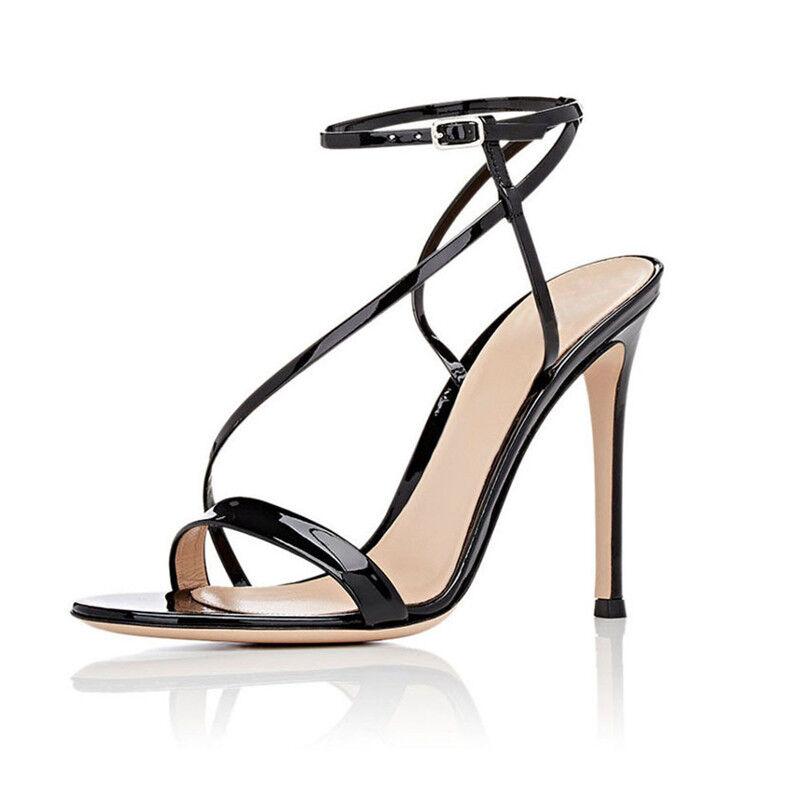 Donna Donna Donna Ankle Strap High Heels Heels Heels Open Toe Stiletto Buckle 66c040
