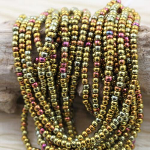 "RARE!! Pick color. Gold Iris Czech Seed Beads 1 strand 20/"" Metallic Bronze"