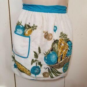 Vintage-1950s-Aqua-blue-Terry-Cloth-Half-Apron-Pocket-MCM-Vegtables