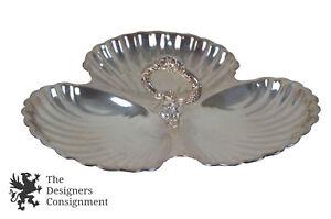 PILGRIM S114 argent plaque scallopped Shell Triple section compote plat avec poignée