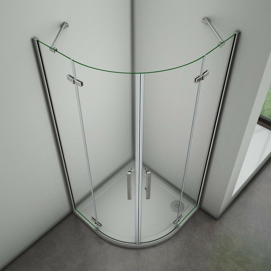 90x90cm Duschabtrennung Viertelkreis Runddusche Duschkabine Nano ESG Glas Dusche