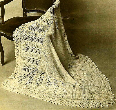 Vintage knitting pattern- pretty baby shetland lace heirloom christening shawl