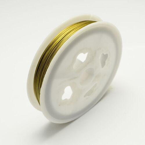 BOBINE 50 mètres 50m FIL CABLE crinelle DORE 0,45MM création bijoux perles