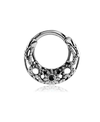 Septum Clicker Hinged Surgical Steel Nose Ring Hoop Choose Your Color CZ 16G