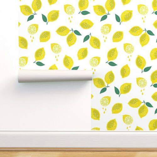 Peel-and-Stick Removable Wallpaper Lemon Fruit Fresh Yellow Summer Kitchen
