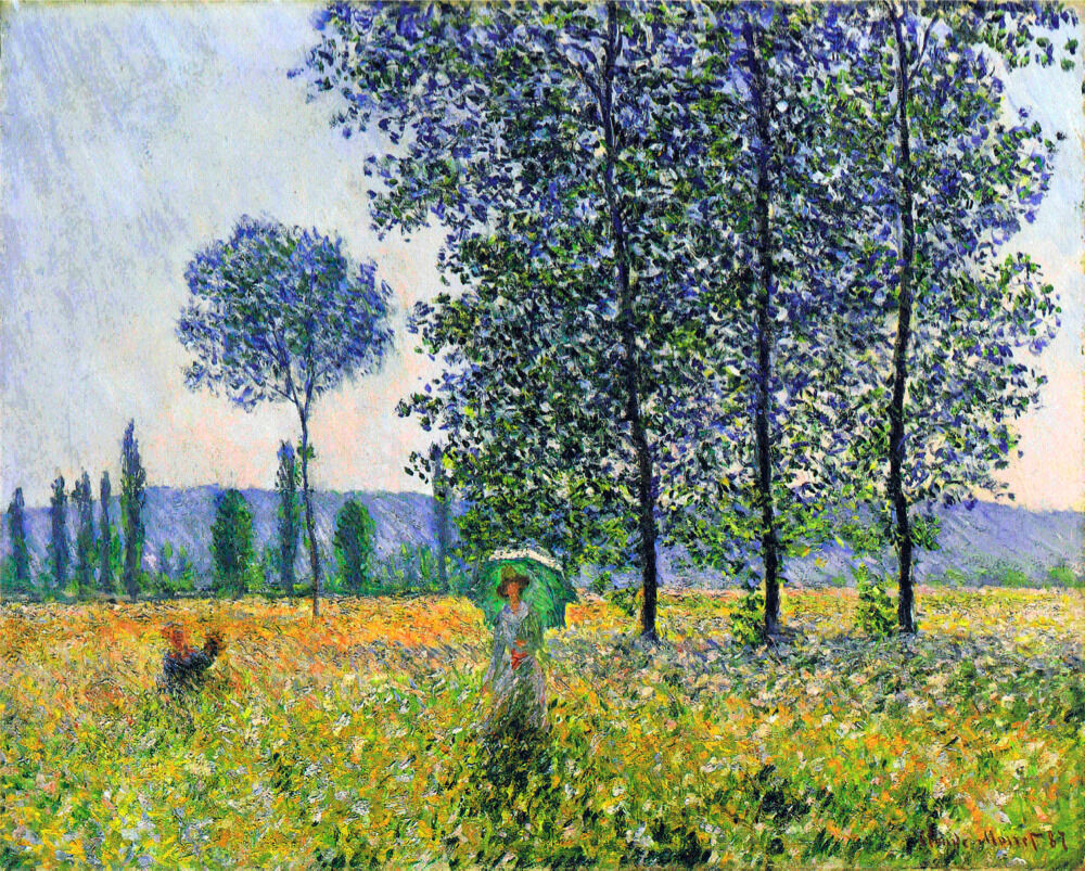 5434.Monet.woman alone in field on a sunny day.POSTER cor Home Office art