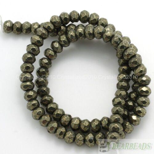 """De Hierro Natural Pirita Piedras Preciosas Facetado Rondelle Cuentas 3mm 4mm 6mm 8mm 10mm 16/"""""""