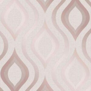 Quartz Geometrique Papier Peint Dore Rose Decor Fin Fd42206
