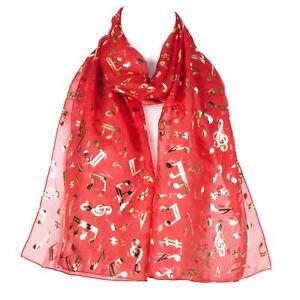 Musical Notes Chiffon Ladies Womens Scarf Shawl Wrap Red