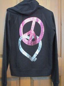 strass rosa cappuccio nera L Victoria's con L s Rhinestone Secret Secret Pink Hoodie Felpa con Black 1naqxIwIX