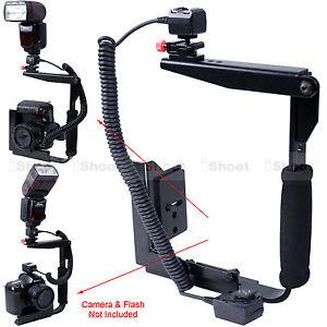 Multi-angle Camera Holder Flash Bracket + i-TTL Cord Cable for Nikon Speedlight