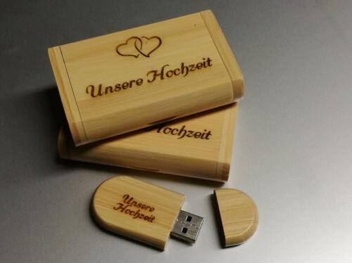 USB Stick 32 GB Holz in Box mit Gravur Hochzeitstag Bilder Video Unsere Hochzeit