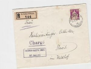 switzerland st gallen  1932  registered charge  stamps cover ref r13213