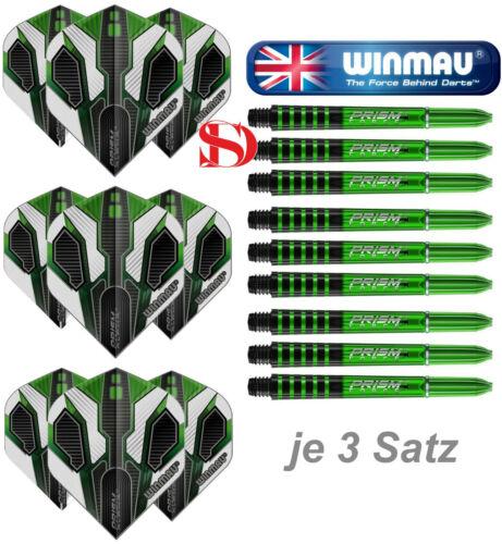 3 Satz Winmau Prism Alpha 118 Flights 3 Satz Prism Force Shafts Grün