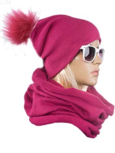 Damen Set Mütze Loopschal Winter Onesize 2teilig Warm Schwarz Olive Creme Ponpon
