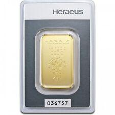 Lingot or  20 grammes or pur 999/1000 Heraeus numéroté Suisse gold bar Swiss