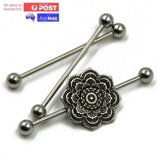 Mandala Flower Rose Industrial Ear Scaffold Piercing Bar Barbell Tribal Ethnic
