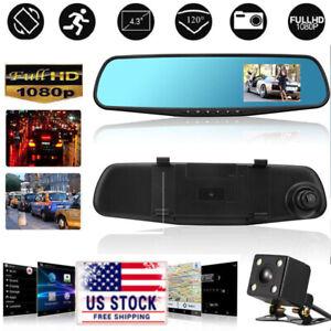 4.3/'/' 1080P Dual Lens Car Auto DVR Mirror Dash Cam Recorder+Rear View Camera *