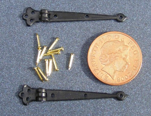 1:12 Scale 2 Black Hinges 4cm open & Pins Tumdee Dolls House DIY Accessory 620