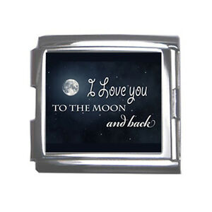 New I Love You To The Moon And Back Mega Link Italian Charm 18mm