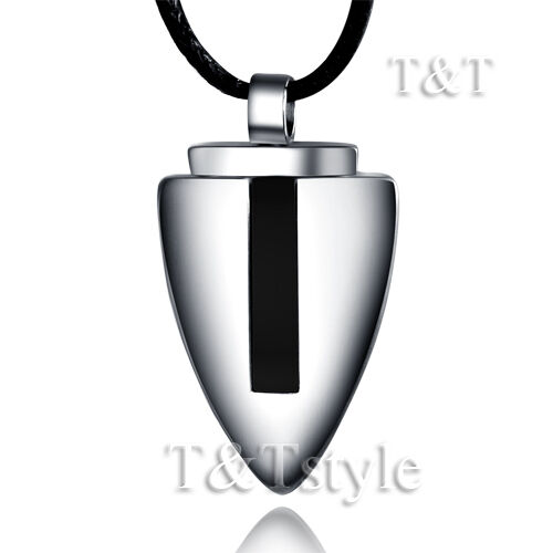 TTstyle Brushed Stainless Steel Black Stripe Shield Pendant With Cotton Necklace