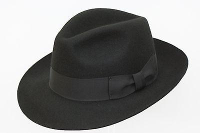 D/&H Black Hand Made Gents Fedora Felt Trilby Hat 100/% Wool