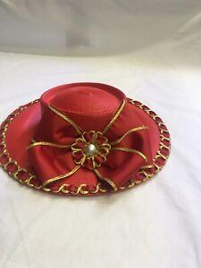 Women-039-s-Stylish-Vintage-Designer-Hat-Deborah-Fashions-Ribbon-Gold-Trim-Pearl