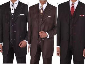 2019 DernièRe Conception Men's Boss Classique Rayures Costume Avec Gilet à Rayures Coutures M5903v-afficher Le Titre D'origine Les Clients D'Abord