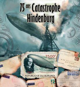 Alerte Zeppelin Lz-129 Hindenburg Catastrophe Dirigeable Avion Stamp Sheet #2/2012 Burundi-afficher Le Titre D'origine