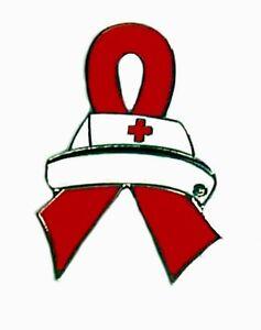 Red Ribbon Nurse Cap Lapel Pin Tac Tack Cancer Cause Aw