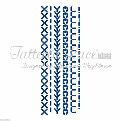 6 Tattered Lace Stitches Dies + Free Stephanie Weightman Die Cuts D190 New