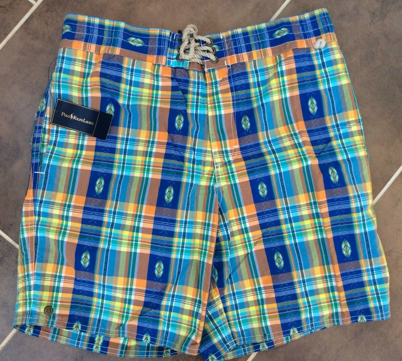 POLO RALPH LAUREN PLAID SANIBEL SWIM SHORTS BNWT SIZE M   L (34 -36 )