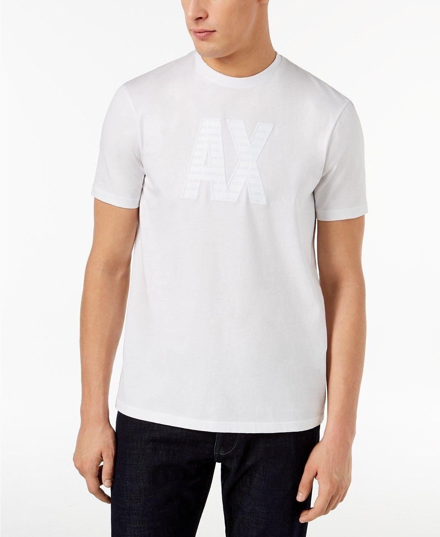 Armani Exchange Men Cotton Logo T‑Shirt ‑ Größe L, Weiß NEW W/TAG